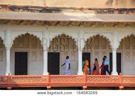 Agra, India - November 7: Unidentified People Walk In Colonnade Walkway  In Agra Fort On November 7,