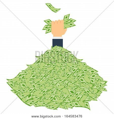 Pile of money. Symbol of wealth success and good luck. Banking and Finance. Hand holds a bundle of money. Flat vector cartoon illustration. Objects isolated on a white background.