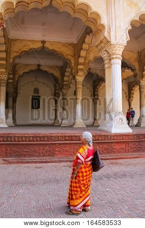 Agra, India - November 7: Unidentified Woman Stands Near Hall Of Public Audience In Agra Fort On Nov