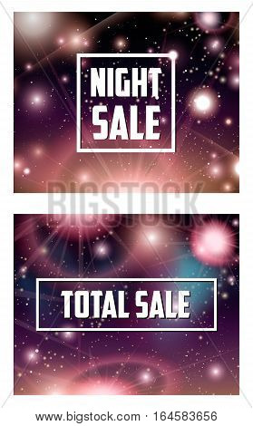 Offer banner on cosmic galaxy background vector illustration. Night sky with nebula, stardust and bright shining stars. Sale proposition on mystical space universe backdrop, cosmic advertising set