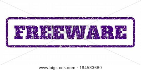 Indigo Blue rubber seal stamp with Freeware text. Vector caption inside rounded rectangular frame. Grunge design and unclean texture for watermark labels. Horisontal sticker on a white background.