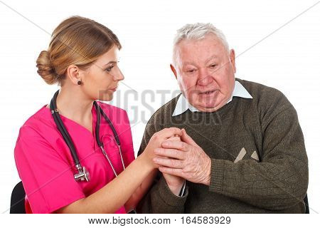 Picture of a caring physician with her patient - isolated background