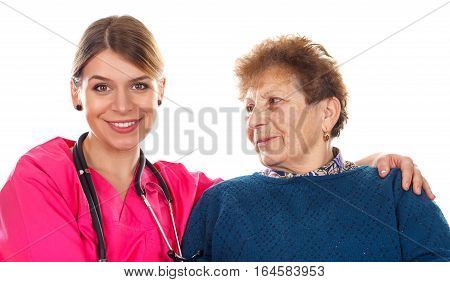 Picture of an old lady with her physician - isolated background