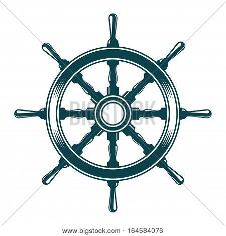 Ship steering wheel. Vintage vector illustration isolated