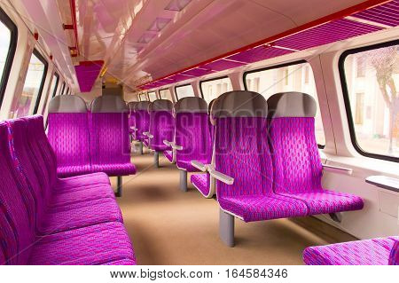 Emtpy blurred interior of the train for long and short distance in Europe