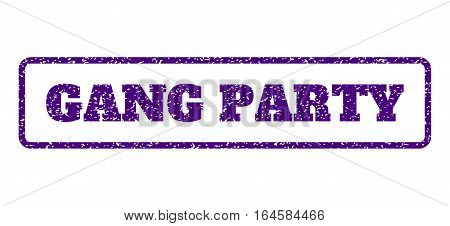 Indigo Blue rubber seal stamp with Gang Party text. Vector message inside rounded rectangular frame. Grunge design and scratched texture for watermark labels. Horisontal sign on a white background.