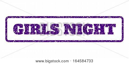 Indigo Blue rubber seal stamp with Girls Night text. Vector tag inside rounded rectangular frame. Grunge design and dust texture for watermark labels. Horisontal sticker on a white background.