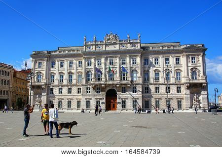 Trieste, Italy - June 21:  Palazzo Del Lloyd Triestino On Piazza Unita D'italia On June 21, 2015 In