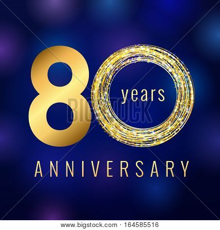 Anniversary 80 year number gold colored vector logo. Eighty years colorful greeting card with shining icon on blue abstract background. Business success stock lighting sign. Celebration event symbol.