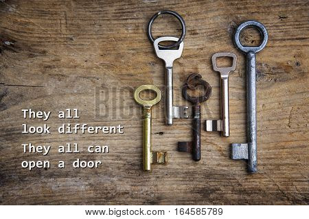 Various keys on a rustic wooden board concept for integration of immigrants and refugees sample text They all look different They all can open a door