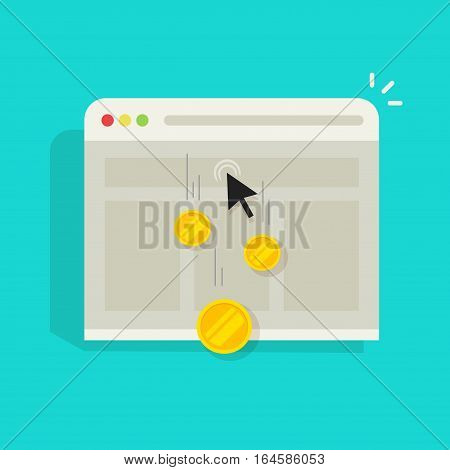 Pay per click PPC vector illustration or cost per click CPC, internet advertising concept, marketing symbol, web browser window with mouse cursor and golden coins earned