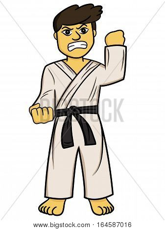 Cartoon illustration of a karate man fighter. Vector character.
