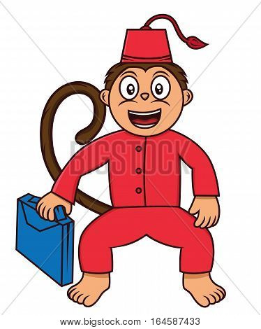 Cartoon illustration of a funny monkey working as a bellboy. Vector character.