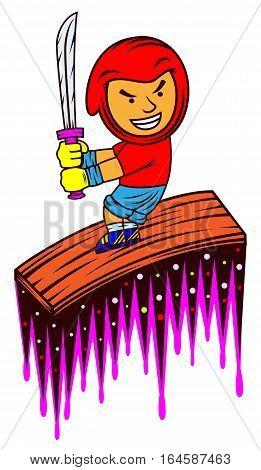 Ninja with sword surfing on a wooden board cartoon character.