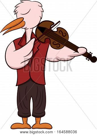 Cartoon illustration of a stork as a violist or viola playing violin isolated on white background