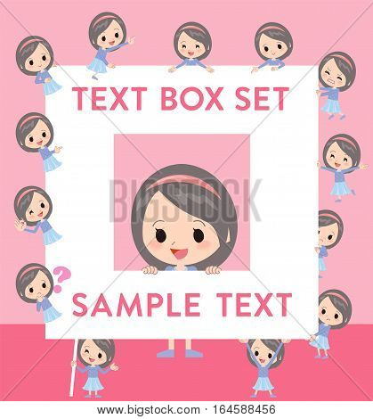 Blue Clothes Headband Girl Text Box