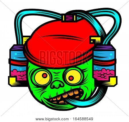 Zombie with Soda Drinking Helmet Horror Cartoon Character. Vector Illustration.