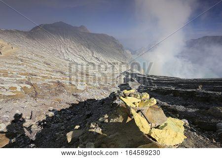 Sulphur basket  Kawah Ijen sulfur lake in Java island,Indonesia.