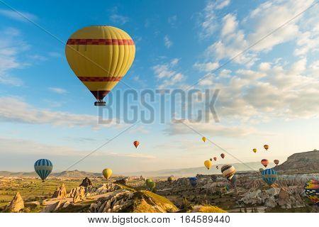Hot air balloon flying over red poppies field Cappadocia region, Turkey