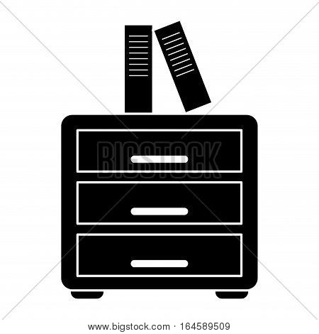 silhouette file cabinet folder archive workplace vector illustration eps 10