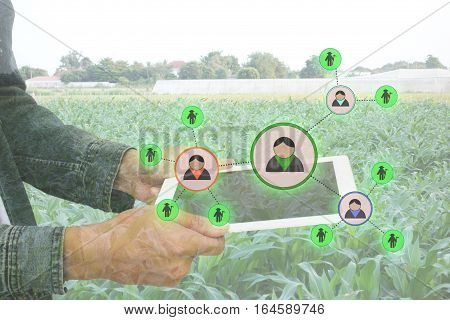 internet of things agriculture conceptsmart farmingfarmer use augmented reality application to manage a human resource in the farm