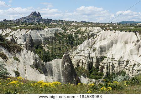 Rock formations of Cappadocia near Uchisar  in Central Anatolia, Turkey