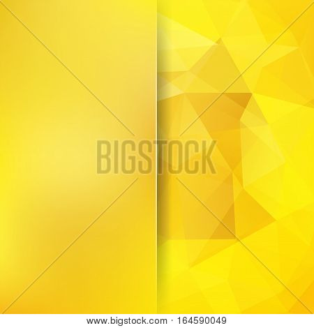 Geometric Pattern, Polygon Triangles Vector Background In Yellow Tones. Blur Background With Glass.