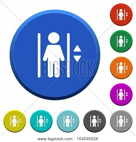 Elevator round color beveled buttons with smooth surfaces and flat white icons