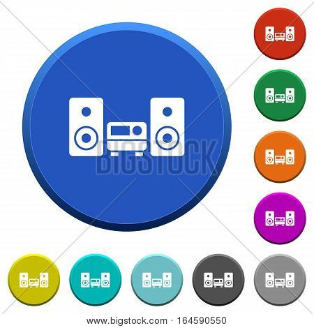 Stereo system round color beveled buttons with smooth surfaces and flat white icons