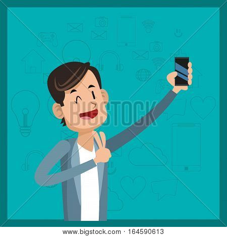 funny man cellphone social media green background vector illustration eps 10