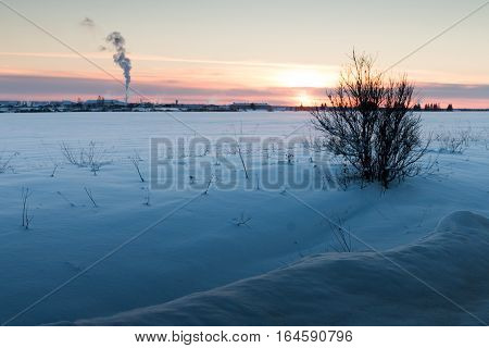 Winter in Russian village. Panorama of Russian heartland. Winter sunset in the Russian province. Snowy field.
