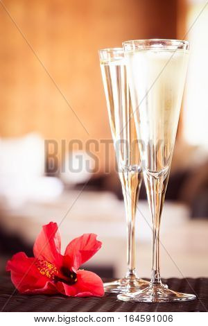 Two Glasses Of Champagne With Red Flower In A Spa Lounge. Spa Time Concept. Spa Lounge Area.