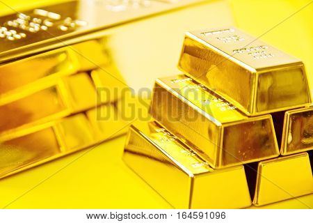Gold bars background, Financial, business investment concept