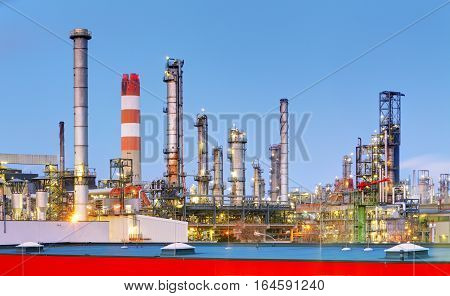 Oil Industry - Factory at a night, Petrochemical plant