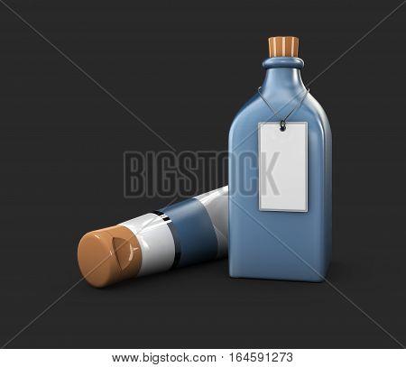 3D Illustration Of Mockup Blue Glass Bottle, Changeable Color Of Bottle, Isolated Black