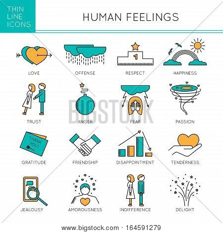 Thin line icons set, vector illustration. Human feelings and emotions, couple relationships. Strong metaphors, isolated symbols. Colored pictograms. Simple mono linear design.