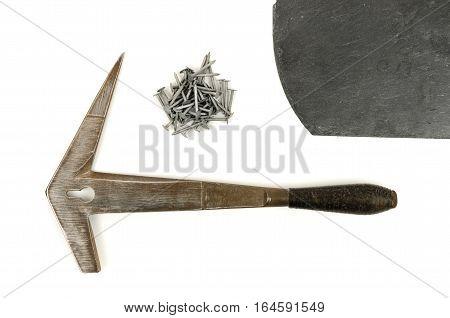 Tools for slater slate hammer on white background