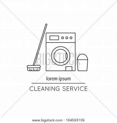 Vector thin line icon, washer, mop and bucket. Metaphor of cleaning and housekeeping. Logo template illustration for cleaning service. Black on white isolated symbol. Simple mono linear modern design.