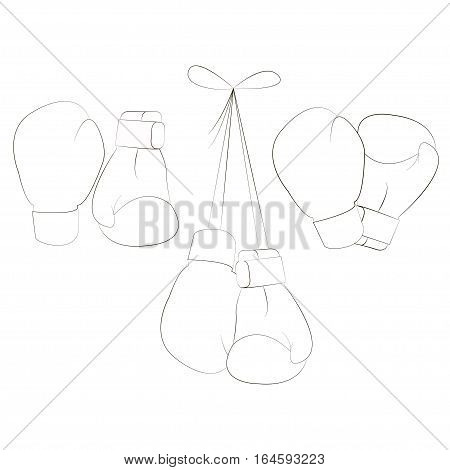 Boxing gloves. Equipment for boxing, protection hand. Vector illustration