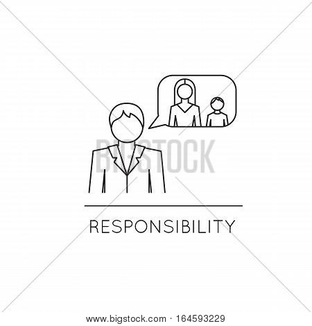Vector thin line icon, family, man, thinking of his wife and child. Metaphor of responsibility and family values. Black on white isolated symbol. Simple mono linear modern design.
