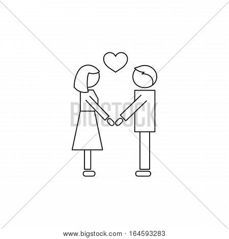 Vector thin line icon, two people in love. Metaphor of amorousness, affection and faithfulness. Man and woman are holding hands. Black on white isolated symbol. Simple mono linear modern design.