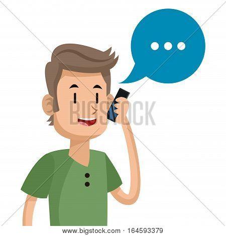 man talk mobile phone social media vector illustration eps 10
