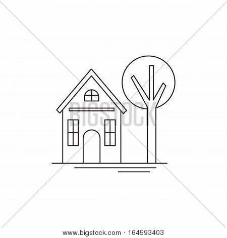 Vector thin line icon, a house and a tree. Logo template for real estate agency or construction company. Black on white isolated symbol. Simple mono linear modern design.