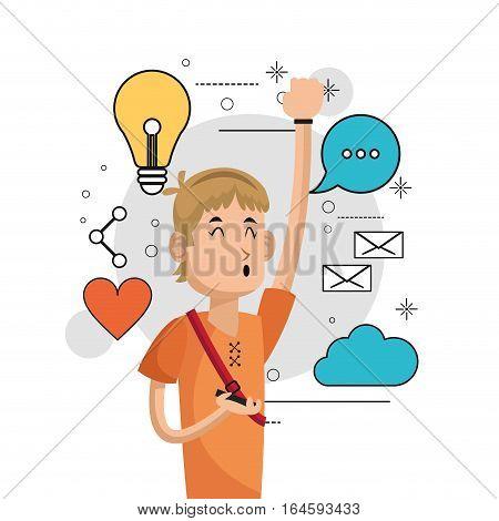 cheerful boy listen music social media background vector illustration eps 10