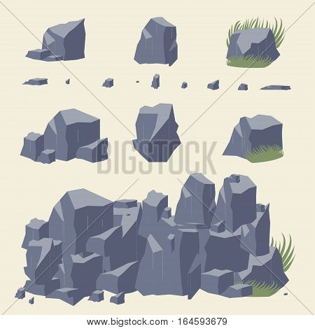 Rock stone vector. Rocks and stones icon.  Set of Rocks and different stone boulders, gray Rock set