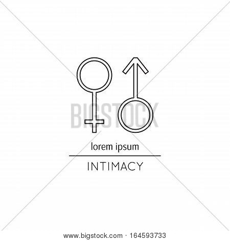 Vector thin line icon, Mars and Venus signs. Metaphor of intimacy, sex and gender relations. Black on white isolated symbol. Simple mono linear modern design.