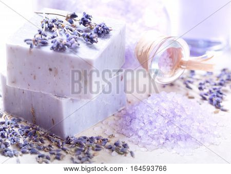 lavender spa products : soap and salt with dried lavender flowers