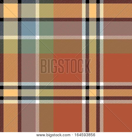 Brown beige check fabric texture seamless pattern. Vector illustration.