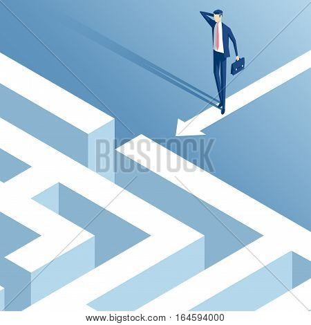 Isometric businessman stood in front of the entrance to the maze and thinks how to pass it confused employee ponders how to overcome the labyrinth business concept problem and challenges