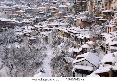 VELIKO TARNOVO BULGARIA - JANUARY 9 2017: View of the town on the bright winter day